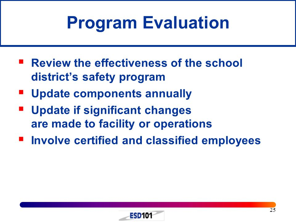 Program Evaluation Review the effectiveness of the school district's safety program. Update components annually.