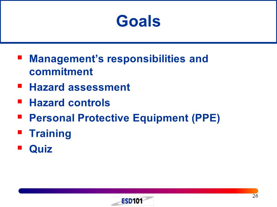 Goals Management's responsibilities and commitment Hazard assessment