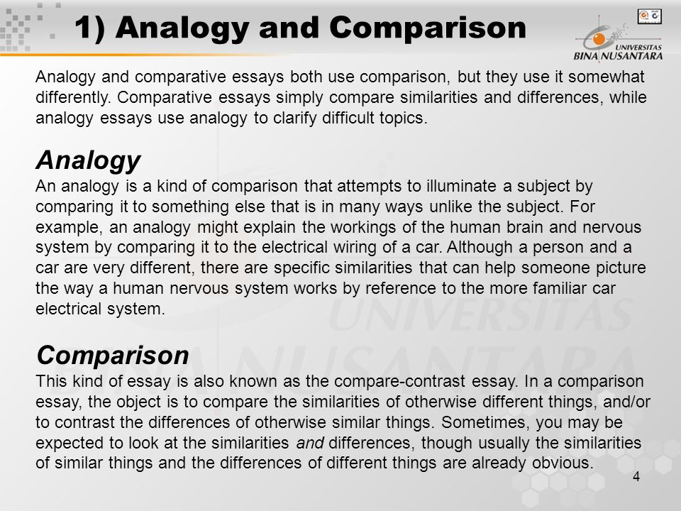 matakuliah g writing iv tahun versi v rev 1 analogy and comparison sample law essay - Example Of Analogy Essay