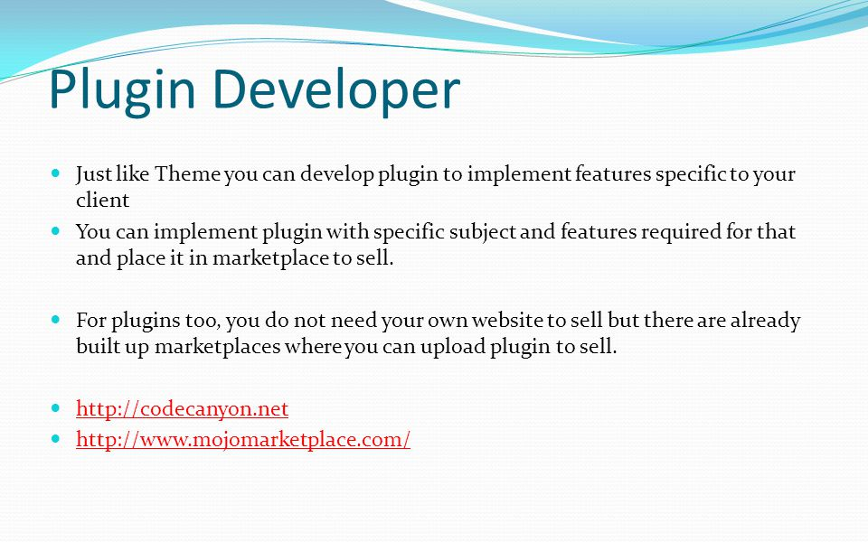 Plugin Developer Just like Theme you can develop plugin to implement features specific to your client.