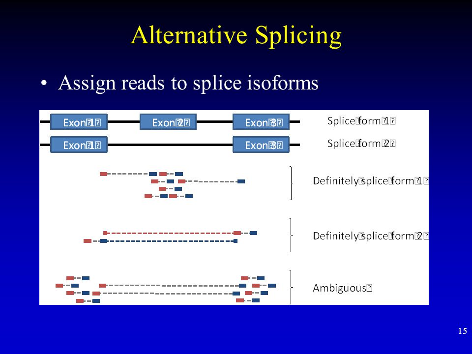Alternative Splicing Assign reads to splice isoforms