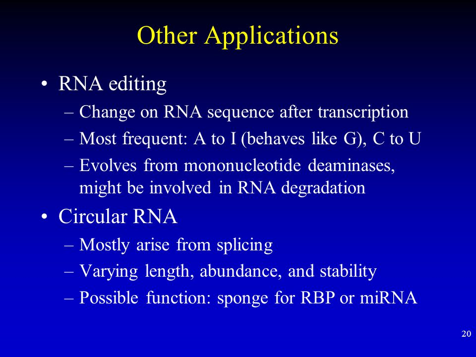 Other Applications RNA editing Circular RNA