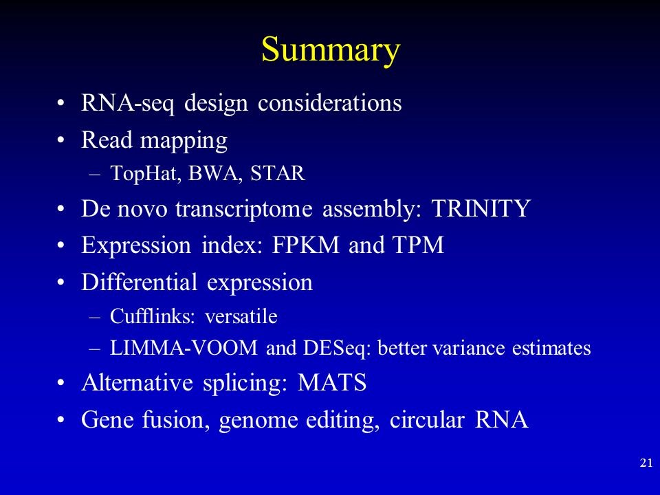 Summary RNA-seq design considerations Read mapping