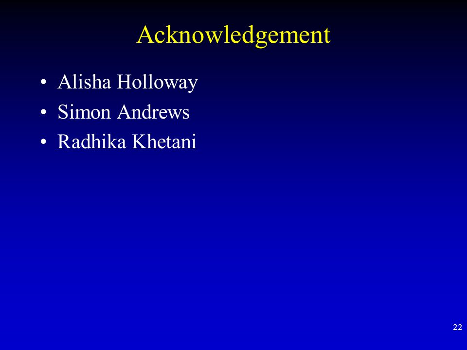 Acknowledgement Alisha Holloway Simon Andrews Radhika Khetani