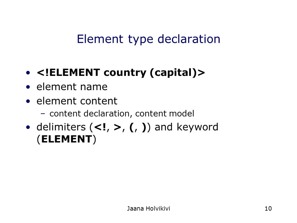 Element type declaration