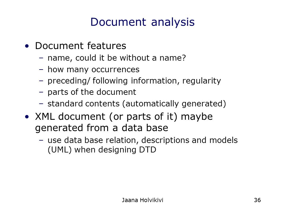 Document analysis Document features
