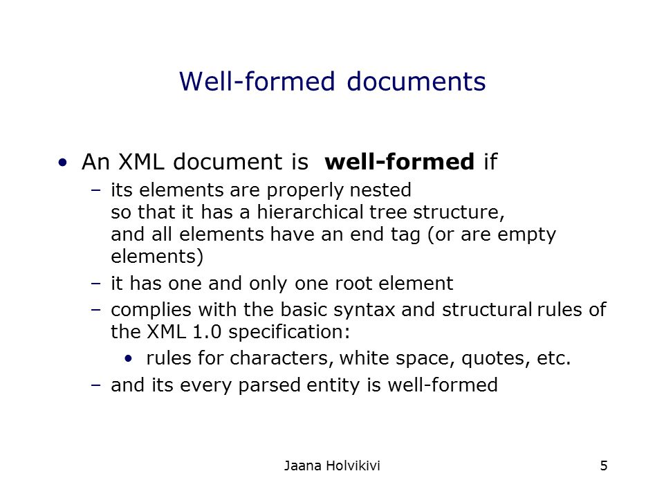 Well-formed documents