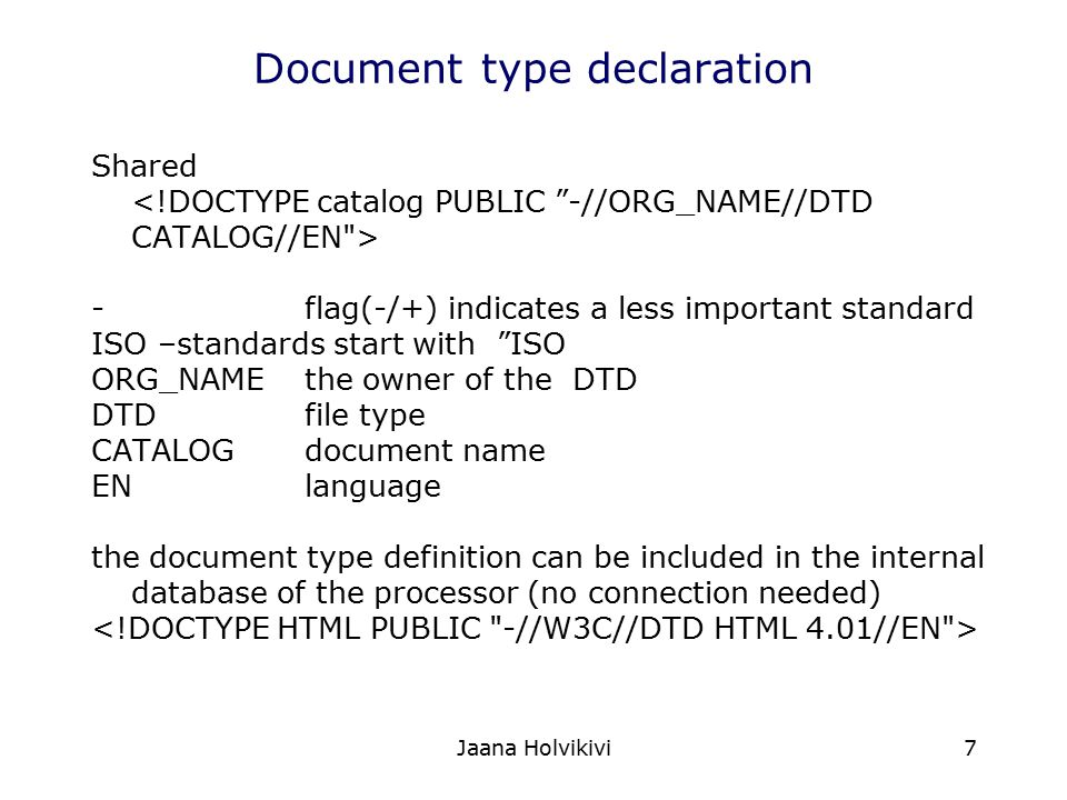 Document type declaration