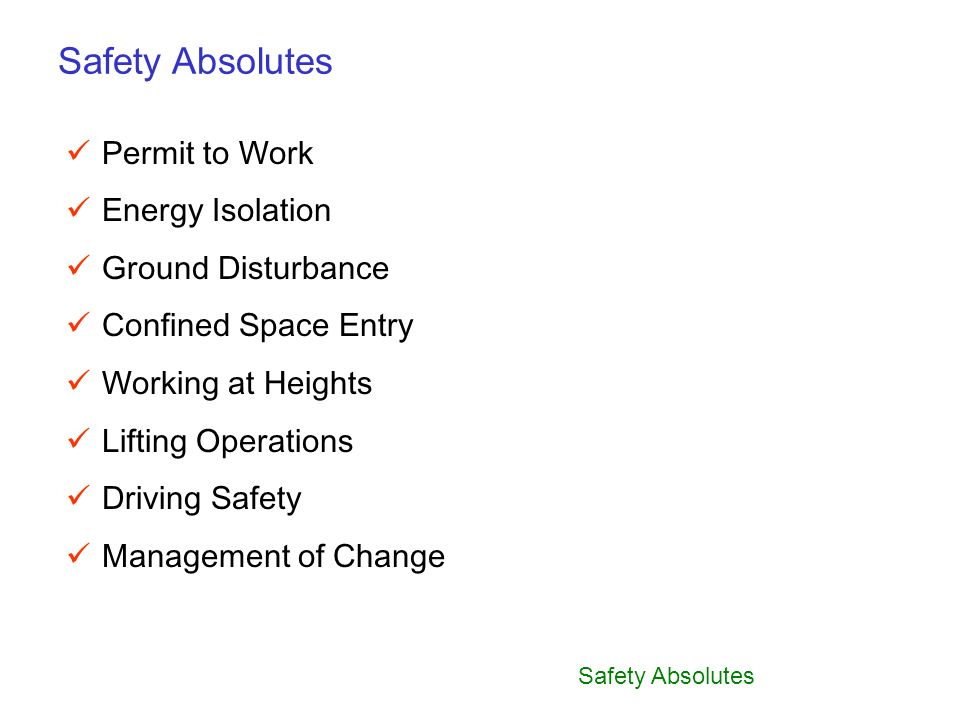 Safety Absolutes Permit to Work Energy Isolation Ground Disturbance