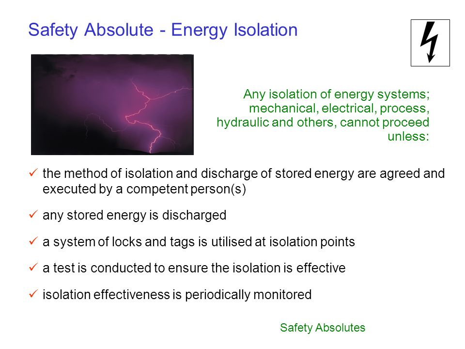 Safety Absolute - Energy Isolation