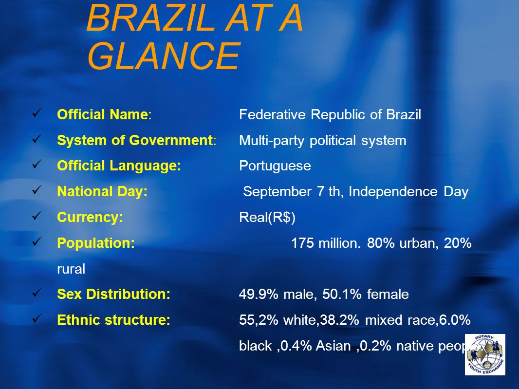 BRAZIL AT A GLANCE Official Name: Federative Republic of Brazil