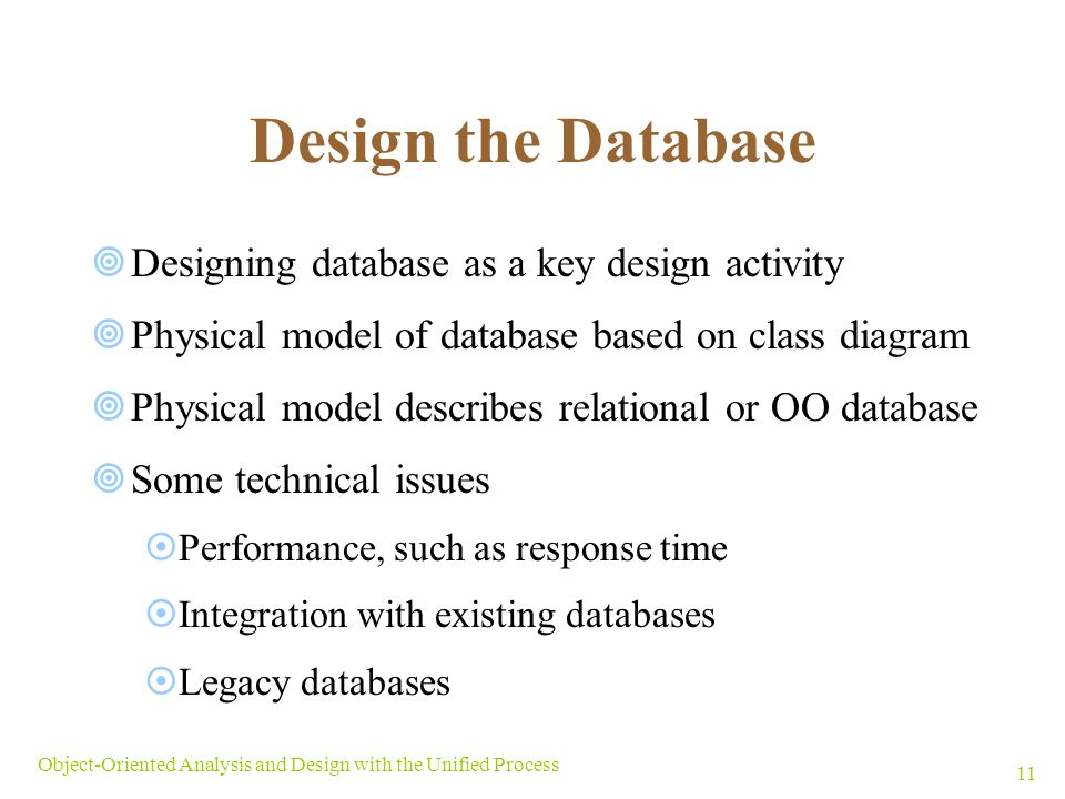 Design the Database Designing database as a key design activity