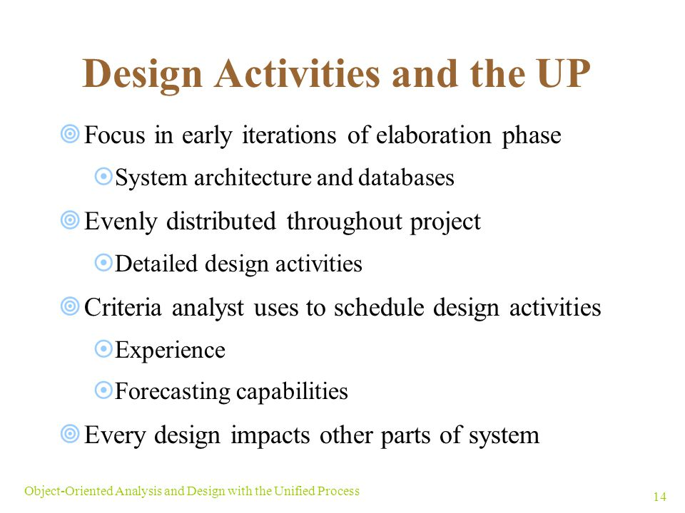 Design Activities and the UP
