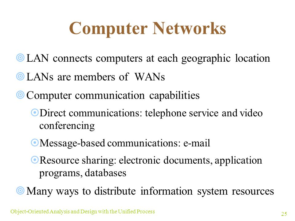 Computer Networks LAN connects computers at each geographic location