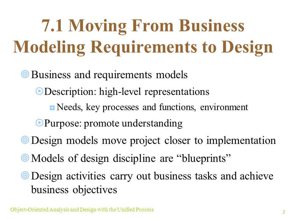 7.1 Moving From Business Modeling Requirements to Design