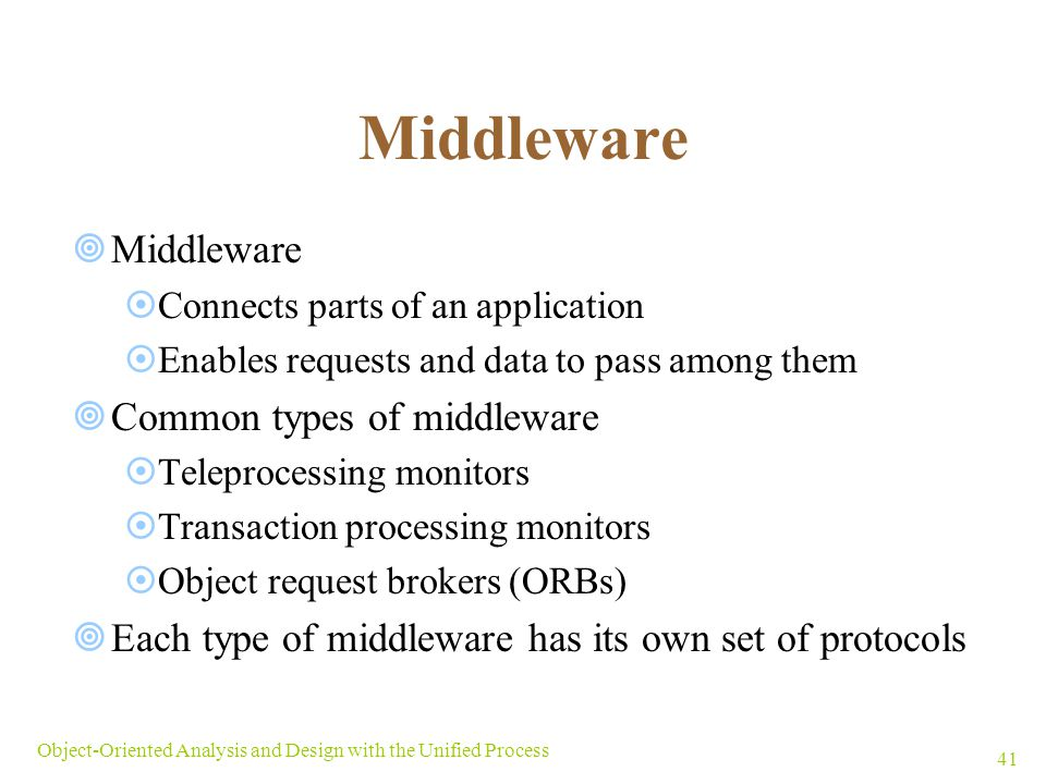 Middleware Middleware Common types of middleware