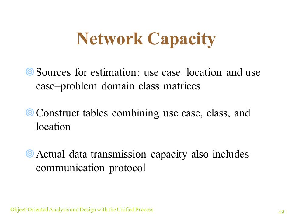 Network Capacity Sources for estimation: use case–location and use case–problem domain class matrices.