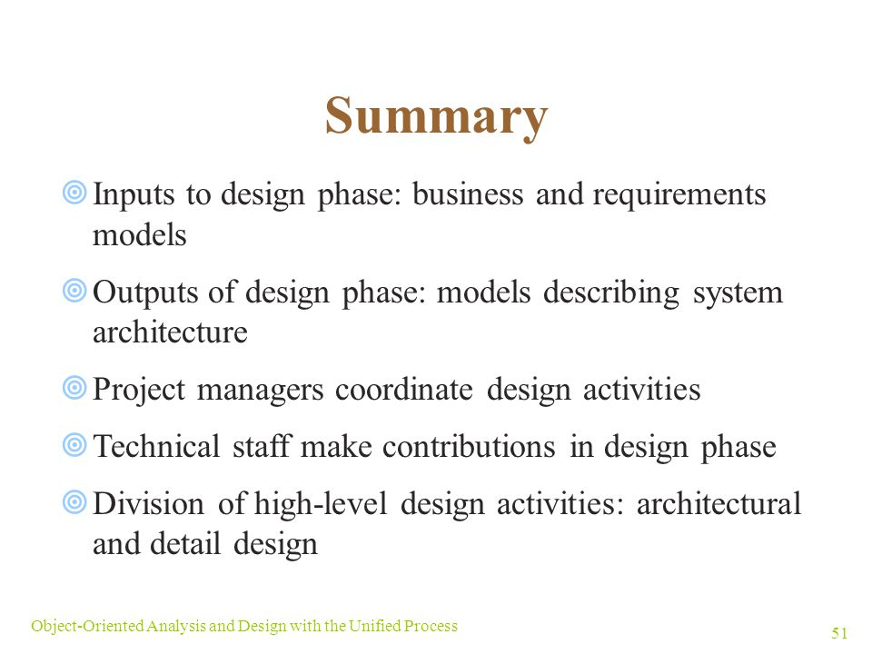 Summary Inputs to design phase: business and requirements models