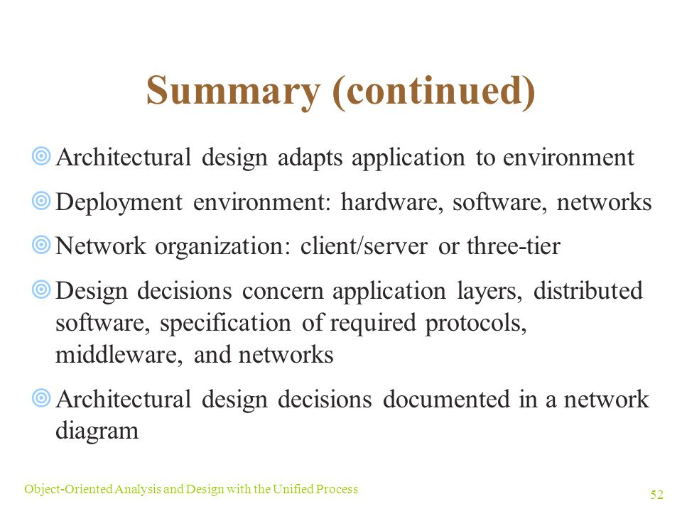Summary (continued) Architectural design adapts application to environment. Deployment environment: hardware, software, networks.
