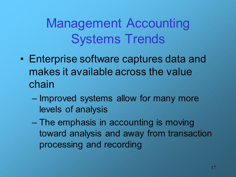 Value modern management accounting system