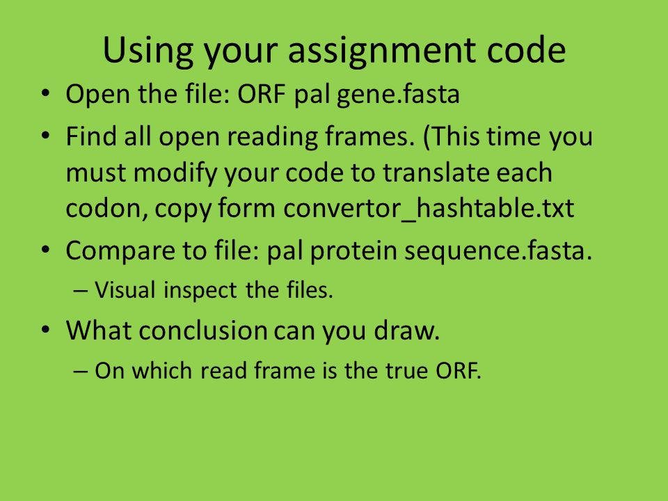 Using your assignment code