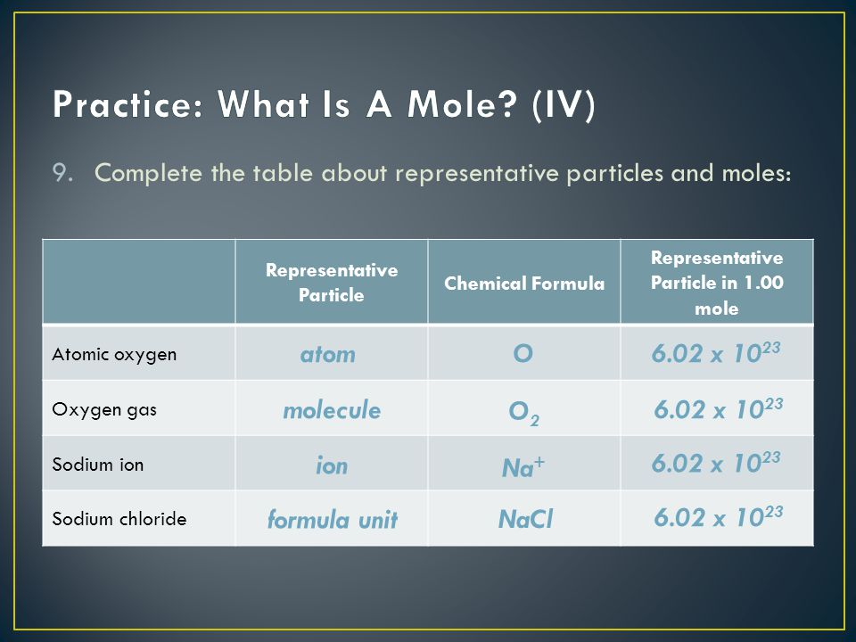 Practice: What Is A Mole (IV)