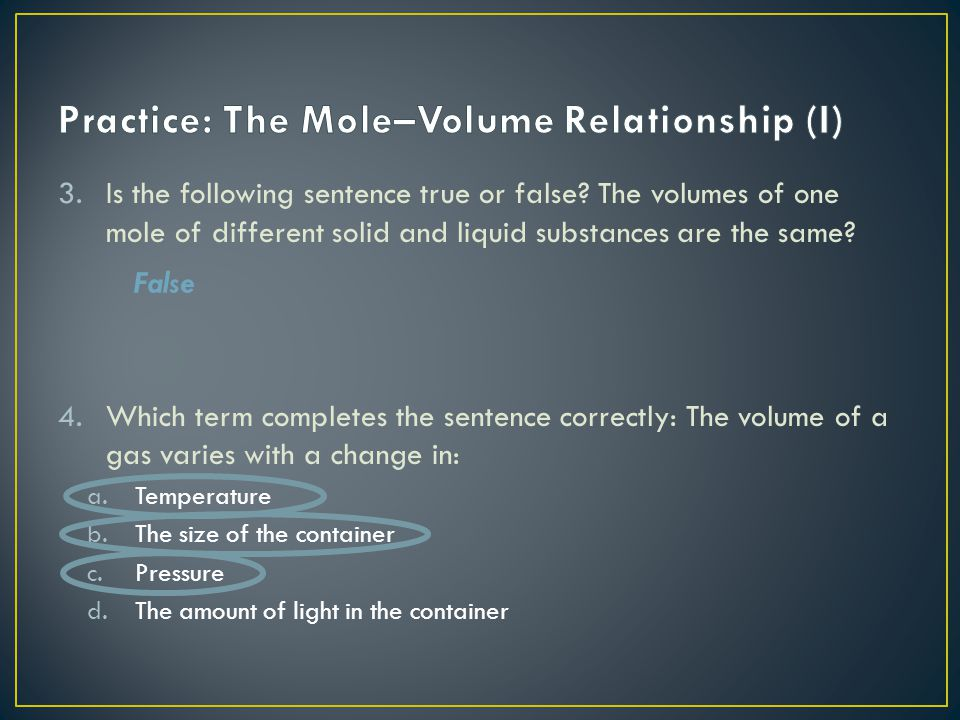 Practice: The Mole–Volume Relationship (I)