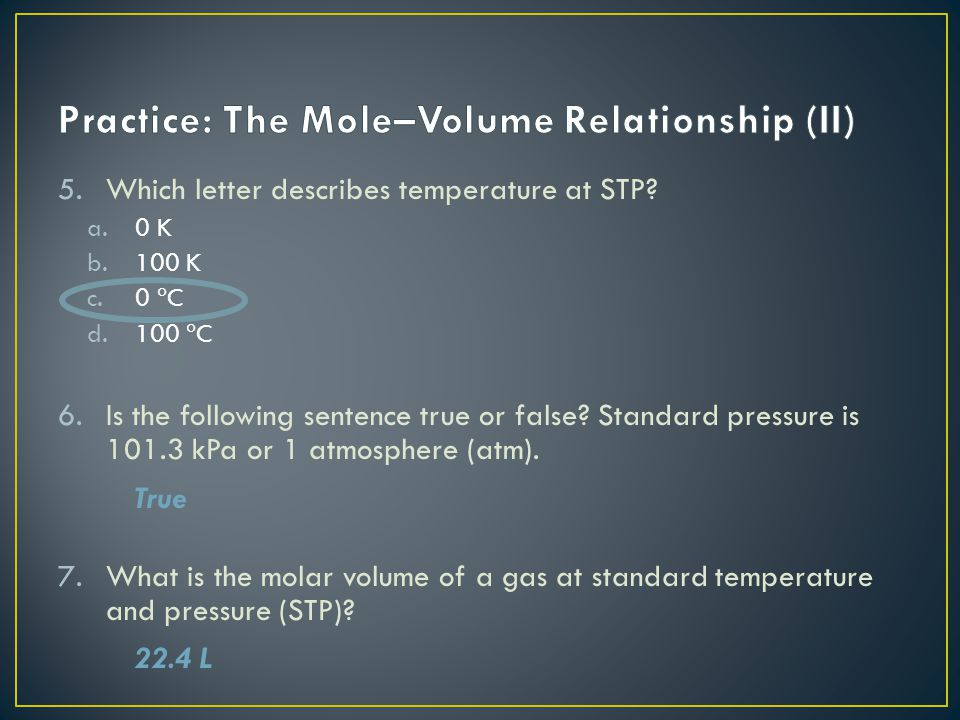 Practice: The Mole–Volume Relationship (II)