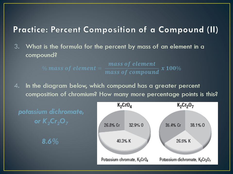 Practice: Percent Composition of a Compound (II)