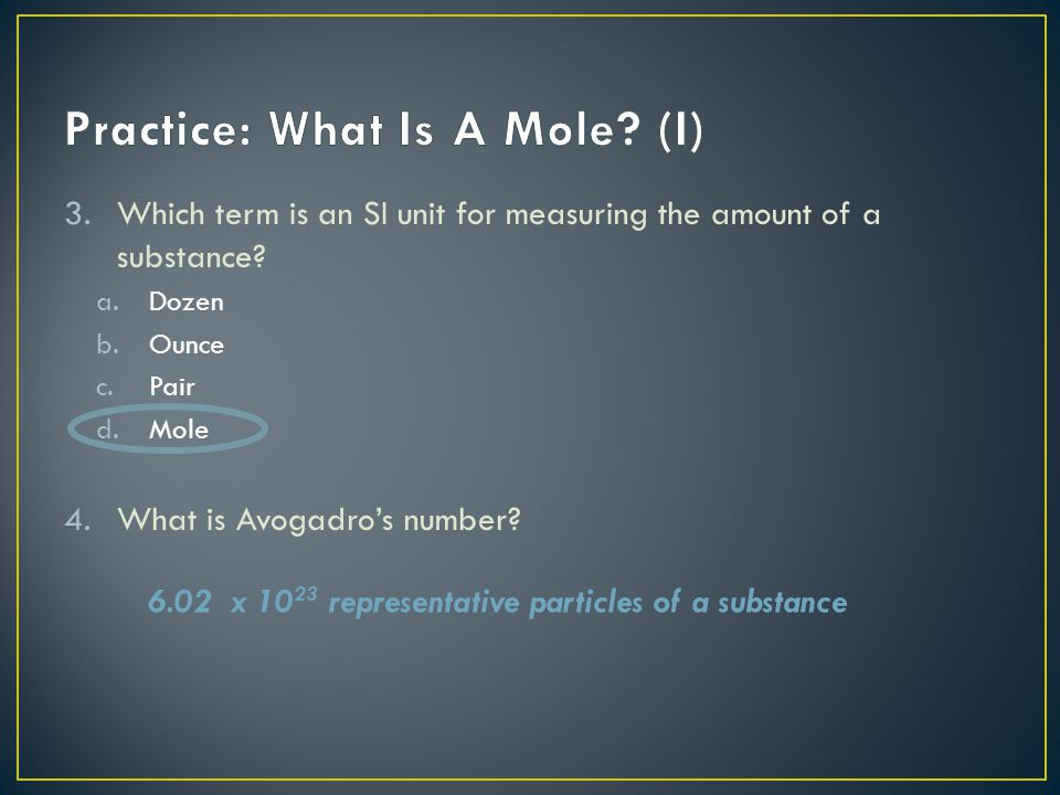 Practice: What Is A Mole (I)