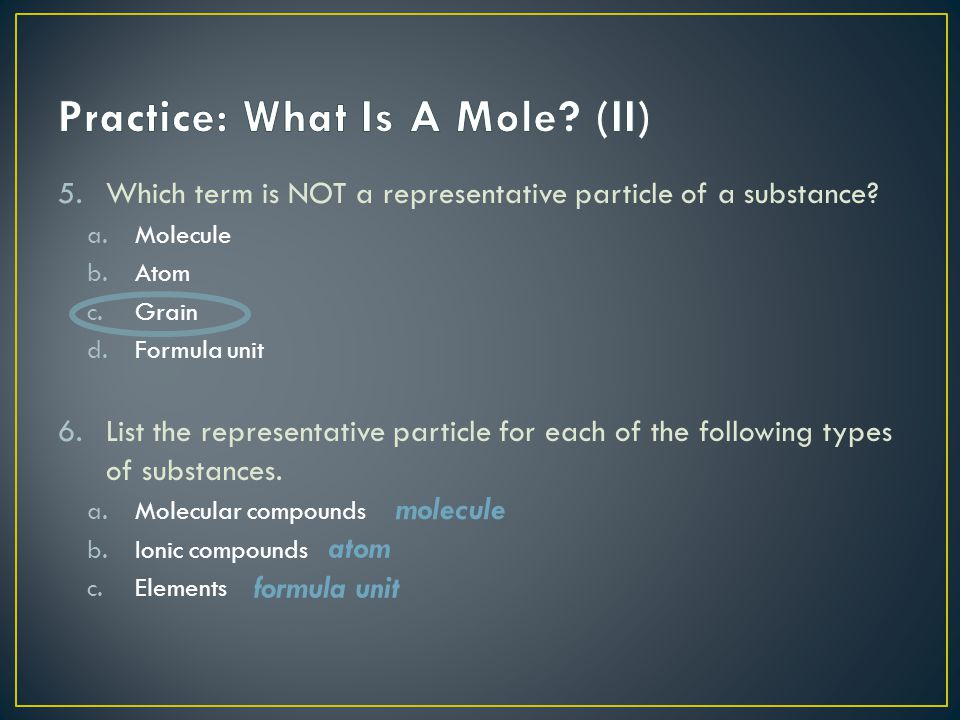 Practice: What Is A Mole (II)