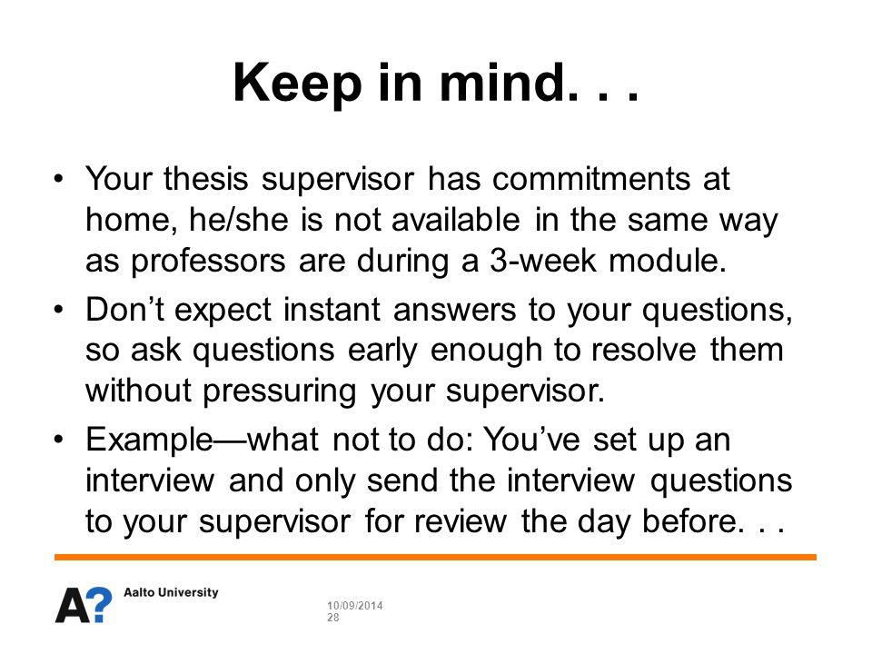 Dissertation supervisor