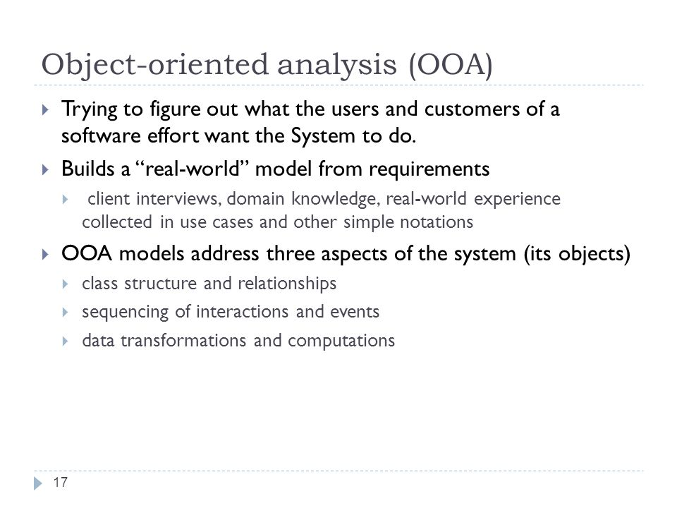 Object-oriented analysis (OOA)