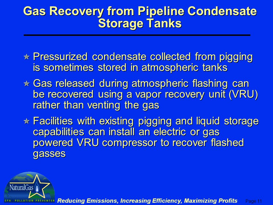 Gas Recovery from Pipeline Condensate Storage Tanks