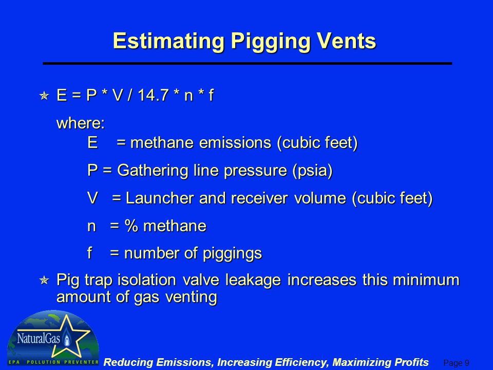 Estimating Pigging Vents