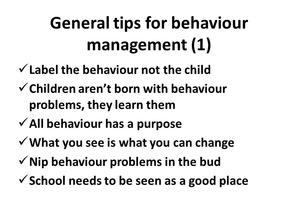General tips for behaviour management (1)