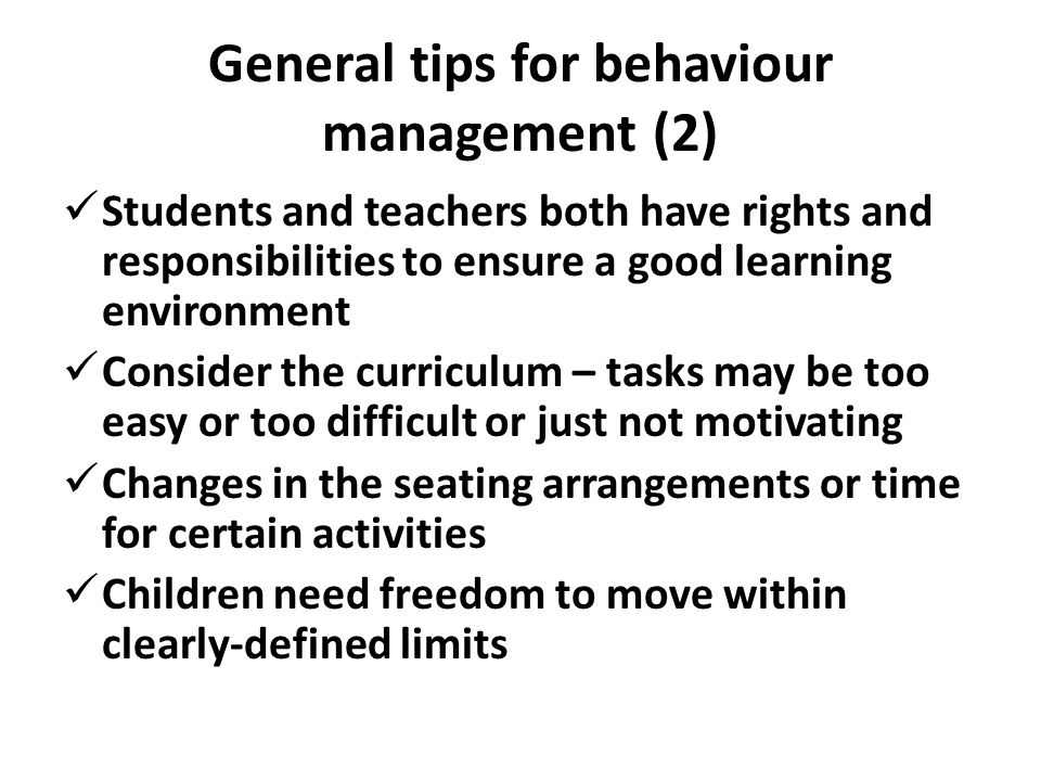 General tips for behaviour management (2)