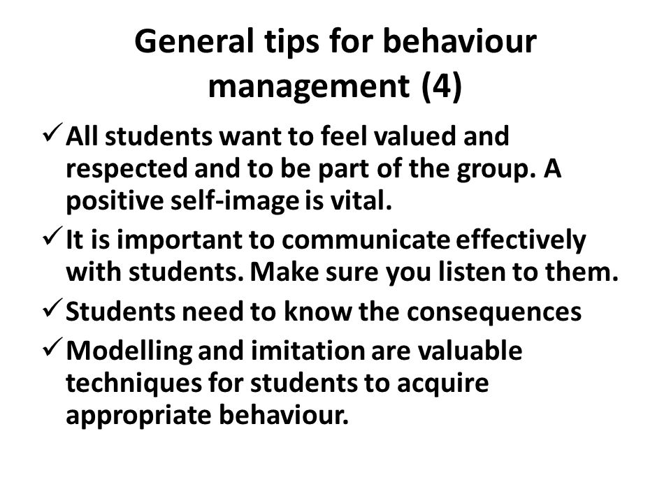 General tips for behaviour management (4)