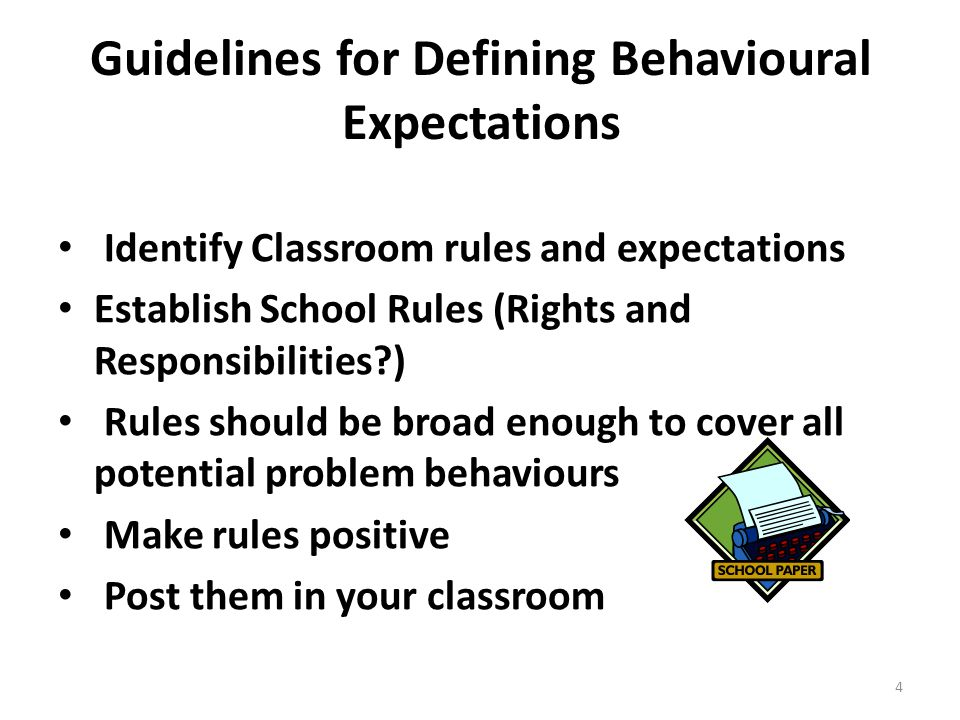 Guidelines for Defining Behavioural Expectations