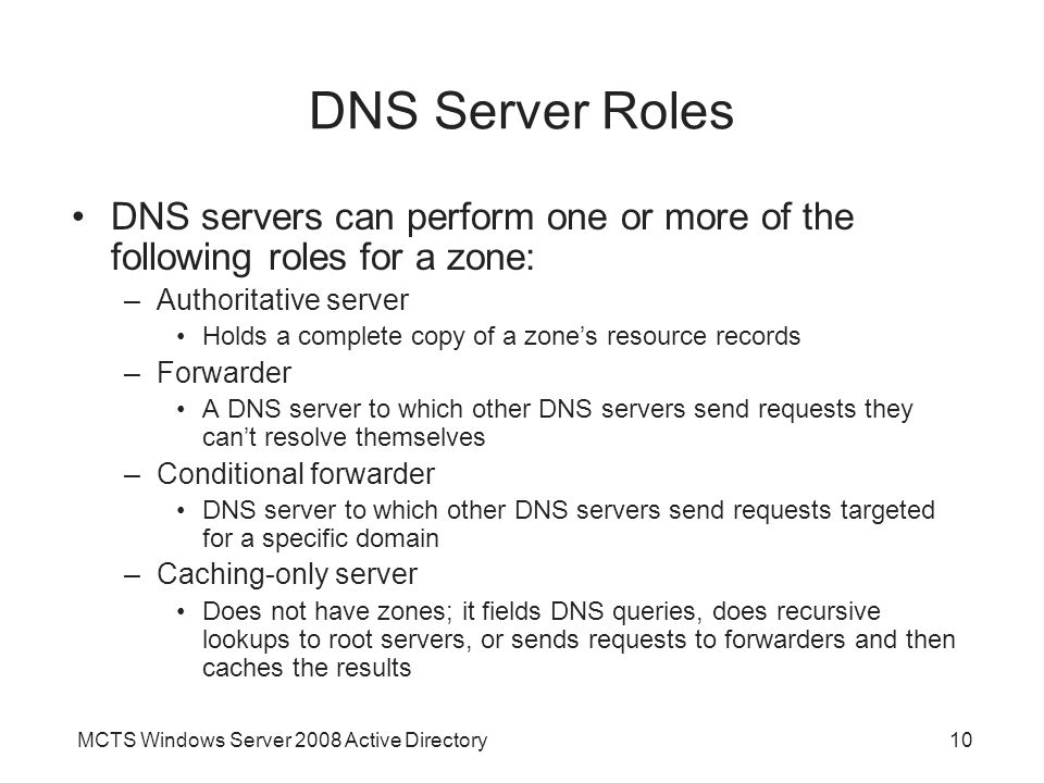 DNS Server Roles DNS servers can perform one or more of the following roles for a zone: Authoritative server.