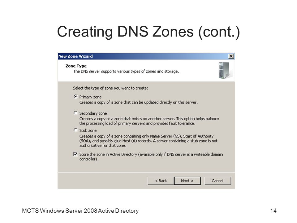 Creating DNS Zones (cont.)
