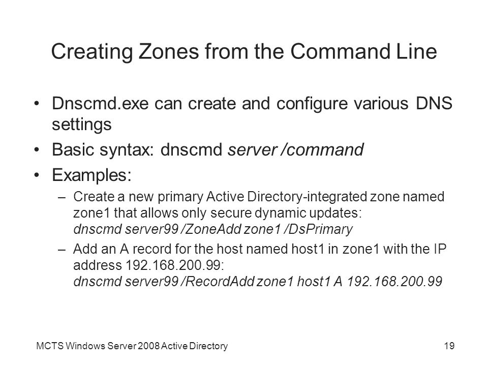 Creating Zones from the Command Line