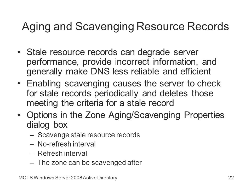 Aging and Scavenging Resource Records