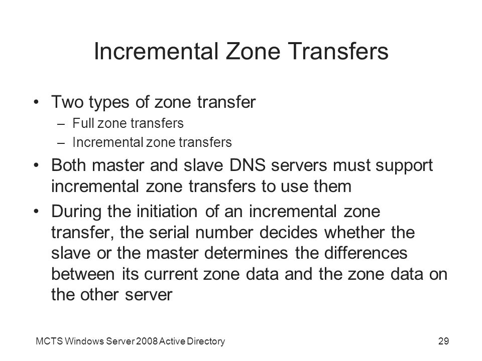 Incremental Zone Transfers