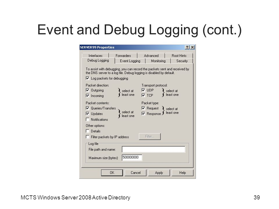 Event and Debug Logging (cont.)