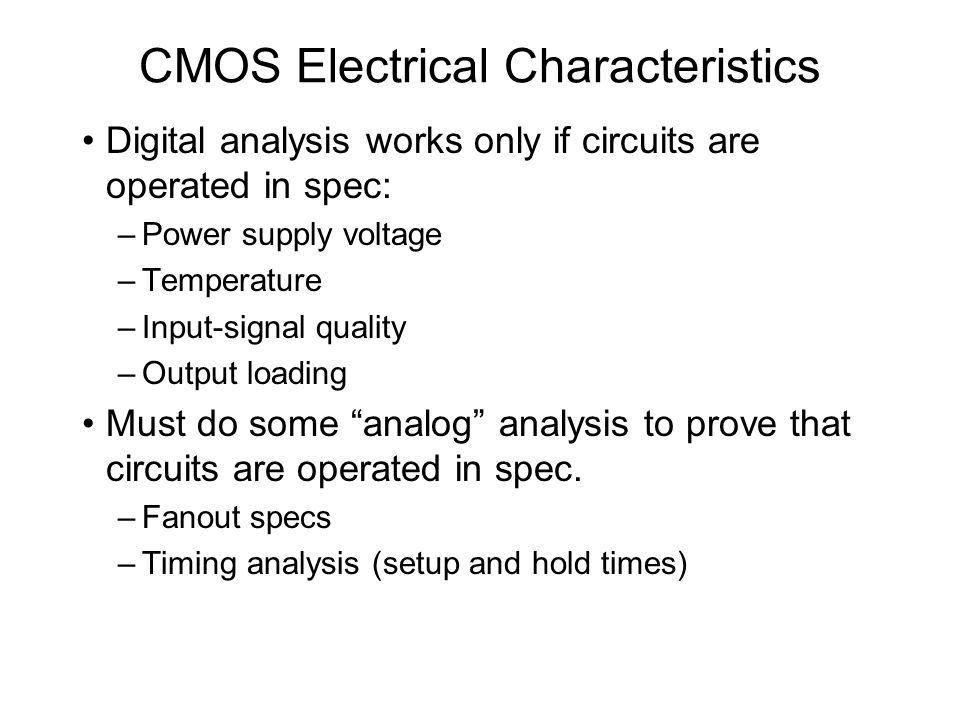 CMOS Electrical Characteristics