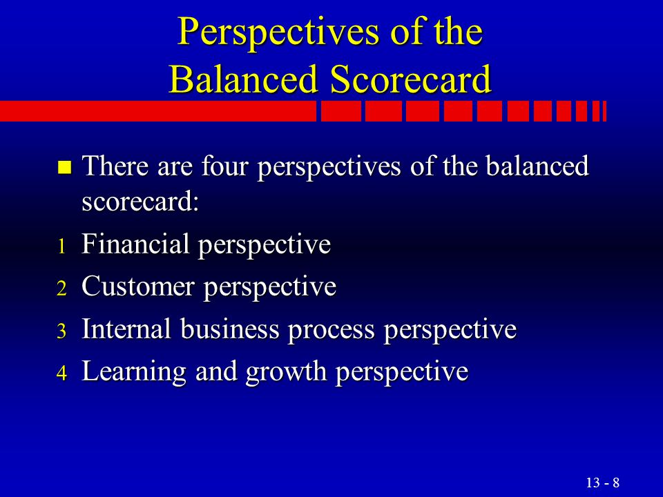Perspectives of the Balanced Scorecard