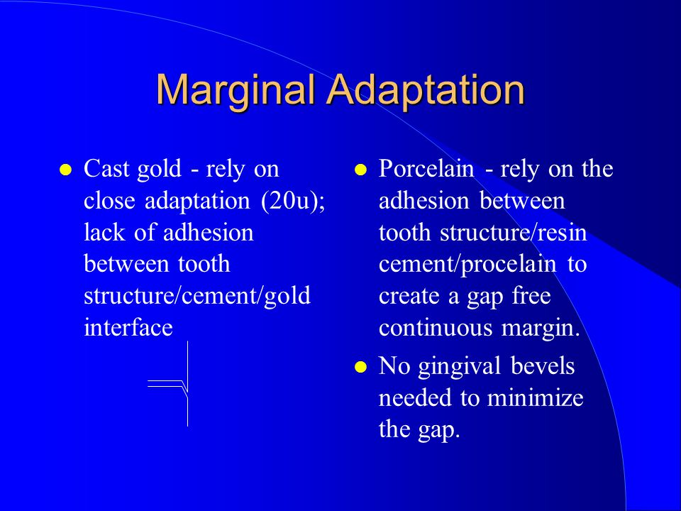 Marginal Adaptation Cast gold - rely on close adaptation (20u); lack of adhesion between tooth structure/cement/gold interface.