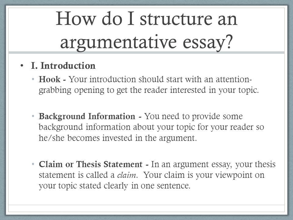 analyzing the structure of an argument essay Underpinning the structure will be the 'argument' your essay is making  analyse  the title again critically review your first draft in the light of this further analysis.