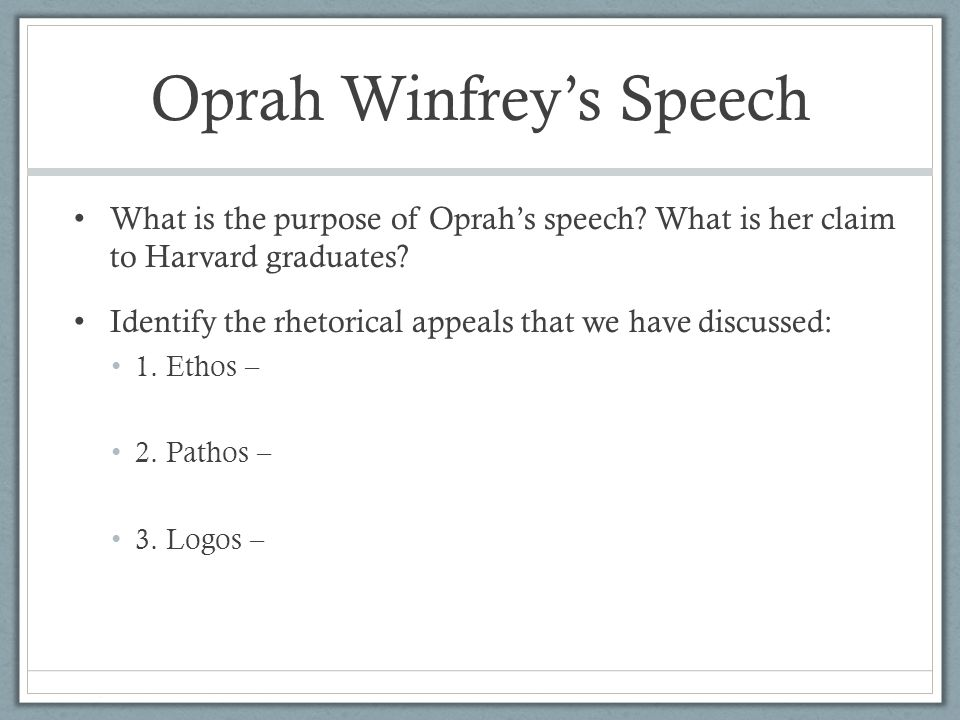 oprah winfrey speech analysis Oprah winfrey delivered the following remarks on aug 28 at the lincoln memorial in washington.